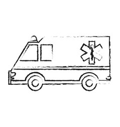 black blurred silhouette cartoon ambulance truck vector image