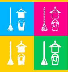 broom bucket and hanger sign four styles of icon vector image