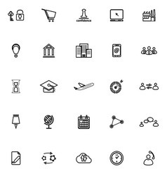 Business connection line icons on white background vector