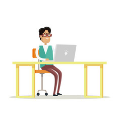 businessman works on his laptop vector image