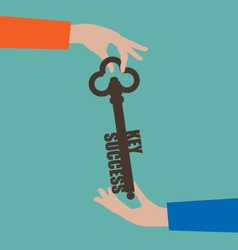 Businesswoman giving key to success vector