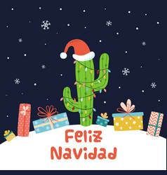 cactus christmas background card full gifts vector image