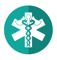 caduceus medicine care symbol shadow vector image