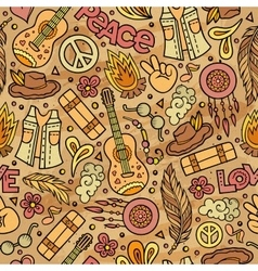 Cartoon cute hand drawn Hippie seamless pattern vector image