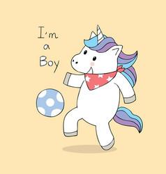 cartoon cute unicorn playing football vector image