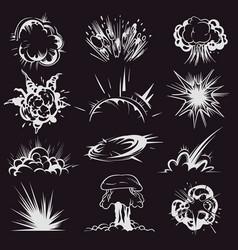Cartoon explosion effect comic energy blast vector