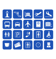 cartoon silhouette airport icons set vector image