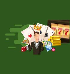 Casino croupier horizontal banner cartoon style vector