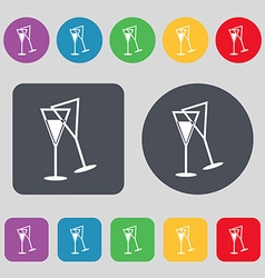 Champagne glass icon sign A set of 12 colored vector