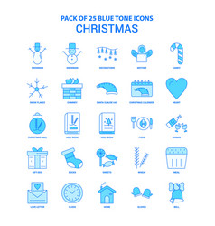 Christmas blue tone icon pack - 25 icon sets vector
