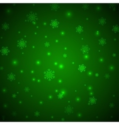Christmas green background with snowflakes and vector image