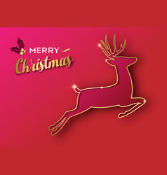 christmas holiday greeting card of gold reindeer vector image