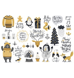 Christmas set hand drawn style - calligraphy vector