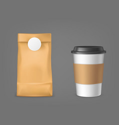 coffee bag and disposable cup design elements set vector image