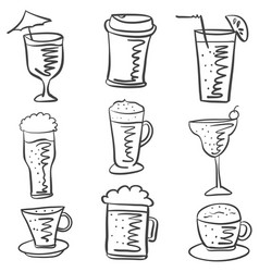 Collection drink hand draw doodle style vector