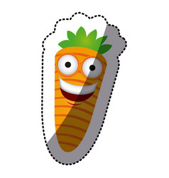 Colorful kawaii happy carrot icon vector