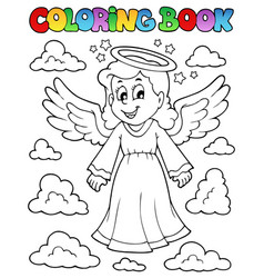 coloring book image with angel 1 vector image