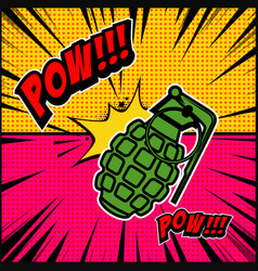 comic style background with grenade explosion vector image