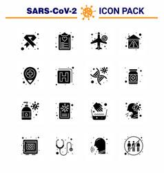 Coronavirus 16 solid glyph black icon set vector