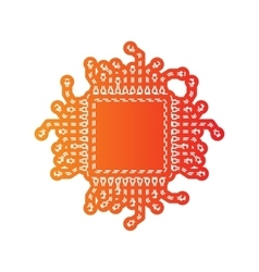 CPU Microprocessor Orange applique vector image