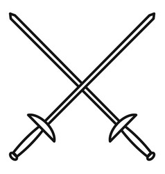 Crossed fencing sword icon outline style vector