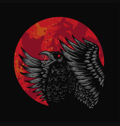 crow red moon vector image