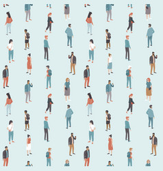 crowd various people seamless pattern vector image