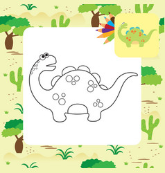 Cute cartoon dino coloring page vector