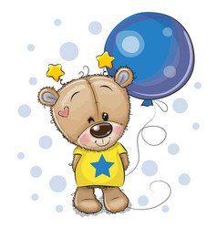 Cute cartoon teddy bear with balloon vector