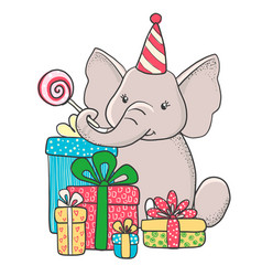 Cute hand drawn elephant with gifts vector