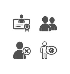 Delete user certificate and users icons cogwheel vector