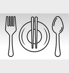 Dining line art icon with plate chopsticks fork vector