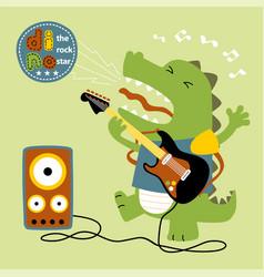 dinosaurs best guitar player rocker cartoon vector image