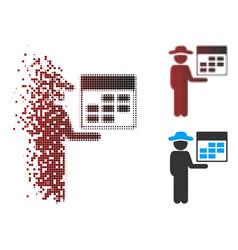 Dispersed pixel halftone man calendar icon vector