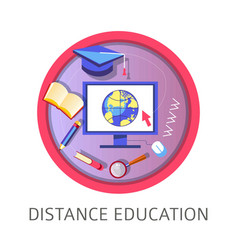 distance education obtaining knowledge with help vector image