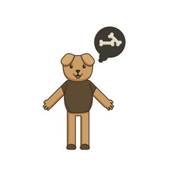 Dog character is thinking about a bone in cartoon vector