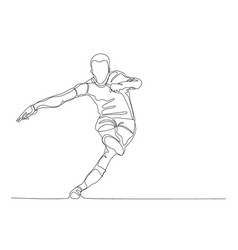 draw a continuous line football player kicks vector image