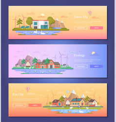 eco city - set of modern flat design style vector image