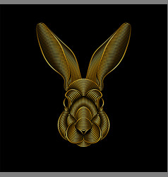 Engraving stylized golden rabbit portrait on vector