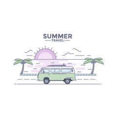 flat line design header - journey bus vector image