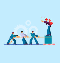 Flat man pulls rope businessman hold cable vector