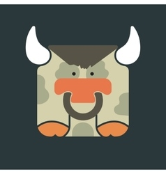 Flat square icon of a cute bull vector