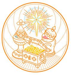 Frankincense myrrh and gold star vector