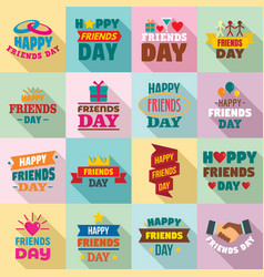 friends day logo set flat style vector image