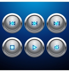 Glossy multimedia control web icon set vector image