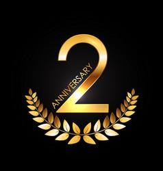 Golden template logo 2 years anniversary vector