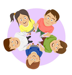 Group of happy young students showing unity vector