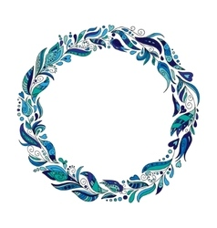 Hand drawn wreath with blue flowers and leaves vector