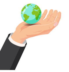 hand holding earth globe on white background vector image