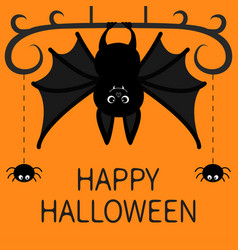 Hanging bat two spider dash line web happy vector